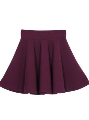 Stretch waist flared mini skirt