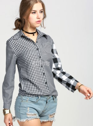 Asymmetric lapel button shirt
