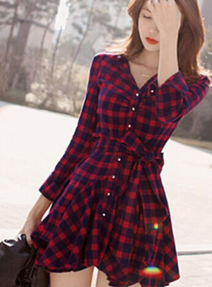 Irregular hem checkered long sleeve mini dress