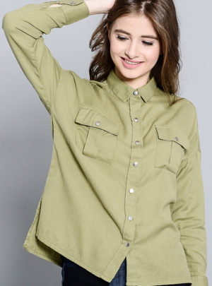 Button down drop shoulder shirt