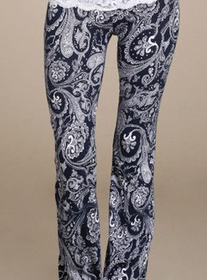 High waist lace & floral casual leggings