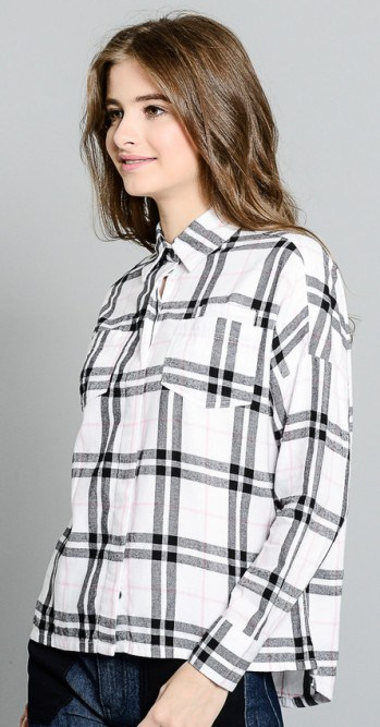Plaid button down shirt with patch pockets