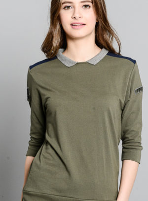 Military polo shirt with sleeve patches