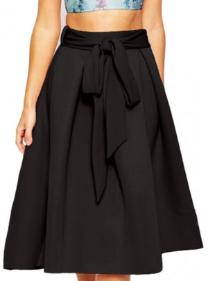 A-line big hem midi skirt (with belt)