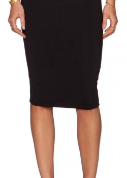 Elastic high waist stretch bodycon pencil midi skirt