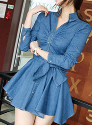Denim long sleeve mini dress