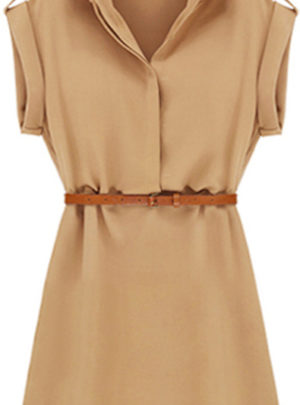 Cap sleeve casual shirt mini dress (with belt)