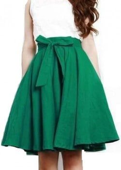 Empire waist bow tie midi skirt