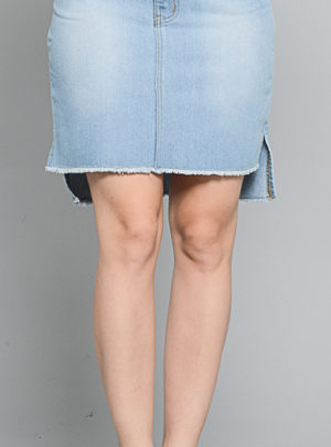 Uneven denim pencil midi skirt