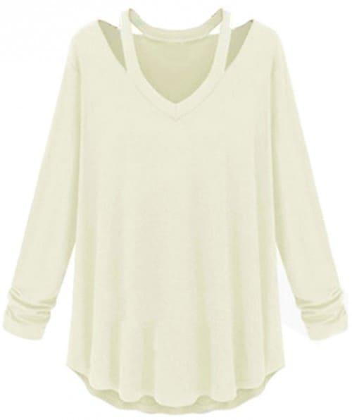 Off shoulder long sleeve V-neck loose blouse