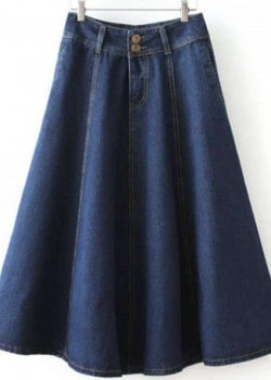 Denim A-line empire waist midi skirt