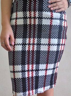 Checkered karylle midi skirt