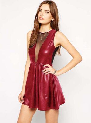 Leather sleeveless bodycon skater mini dress