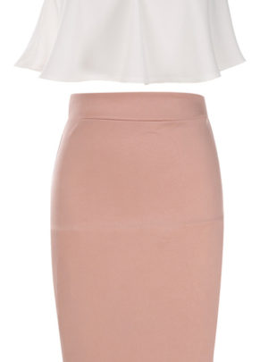Solid pencil midi skirt (with sleeveless top)