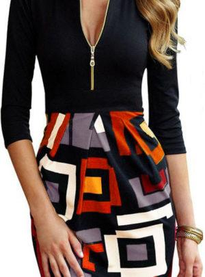 Zipper slim fit party midi dress
