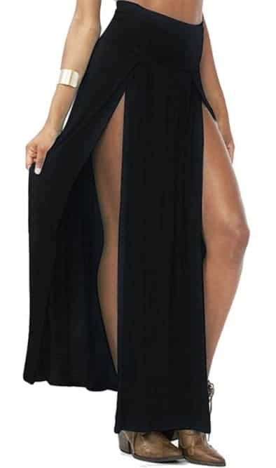 High waist side split irregular maxi skirt