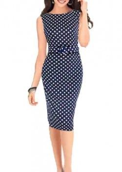 Dot pattern pencil midi dress