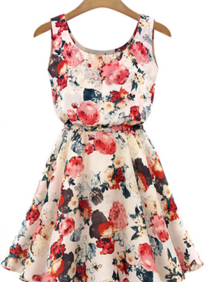 Hequ Sleeveless Floral Print Dress