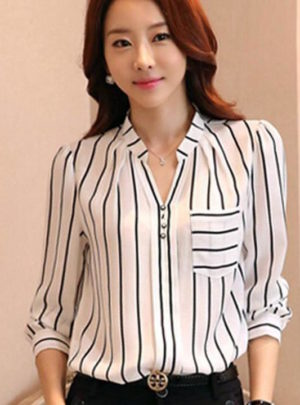 Korean style striped V-neck shirt