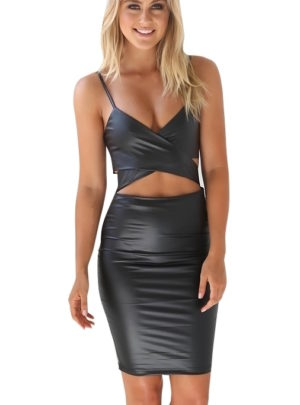 Leather bodycon bandage midi dress