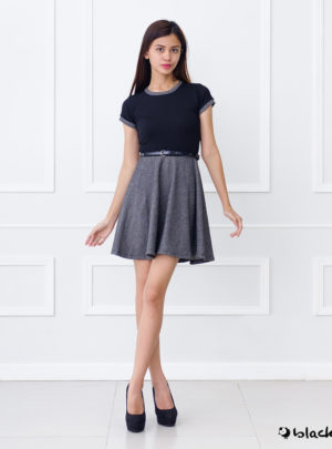 Two-fer skater midi dress (with textured top and free belt)