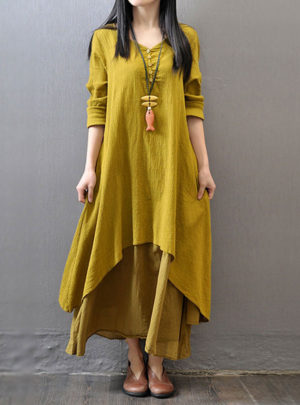 Autumn V-neck casual maxi dress
