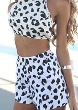Leopard printed crop top and casual shorts set