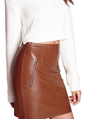 Leather bodycon pencil mini skirt