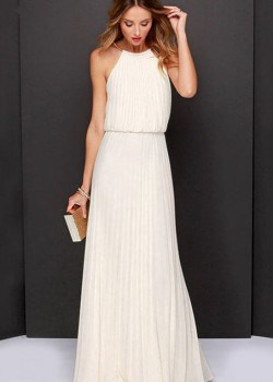 Elegant off shoulder halter maxi dress