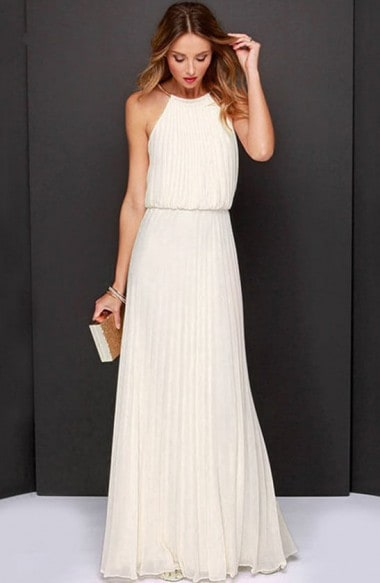 Elegant off shoulder halter maxi dress