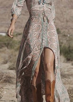 Bohemian long sleeve maxi dress