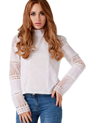 Long sleeve hollow blouse
