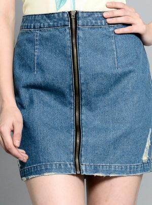 A-line front zipper denim mini skirt
