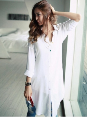 Irregular blouse shirt mini dress
