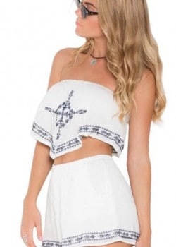 Two piece strapless crop top and casual shorts set