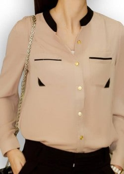 Office style long sleeve button blouse