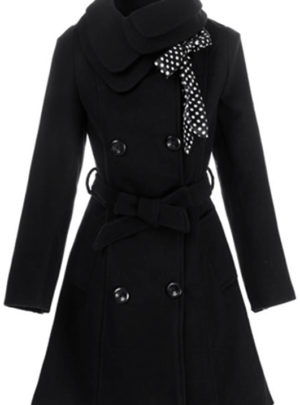 Double-breasted winter wool coat