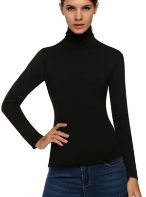 Slim long sleeve turtle neck blouse