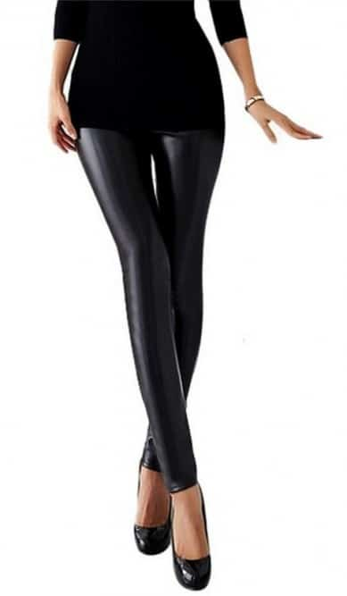 Stretchy faux leather skinny pencil leggings
