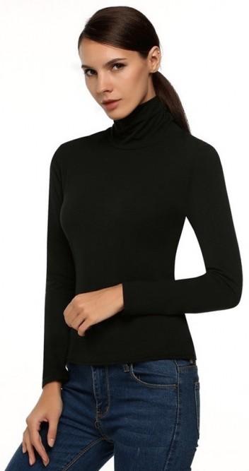 Slim long sleeve turtle neck blouse