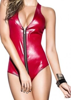 Racerback zippered faux leather lingerie