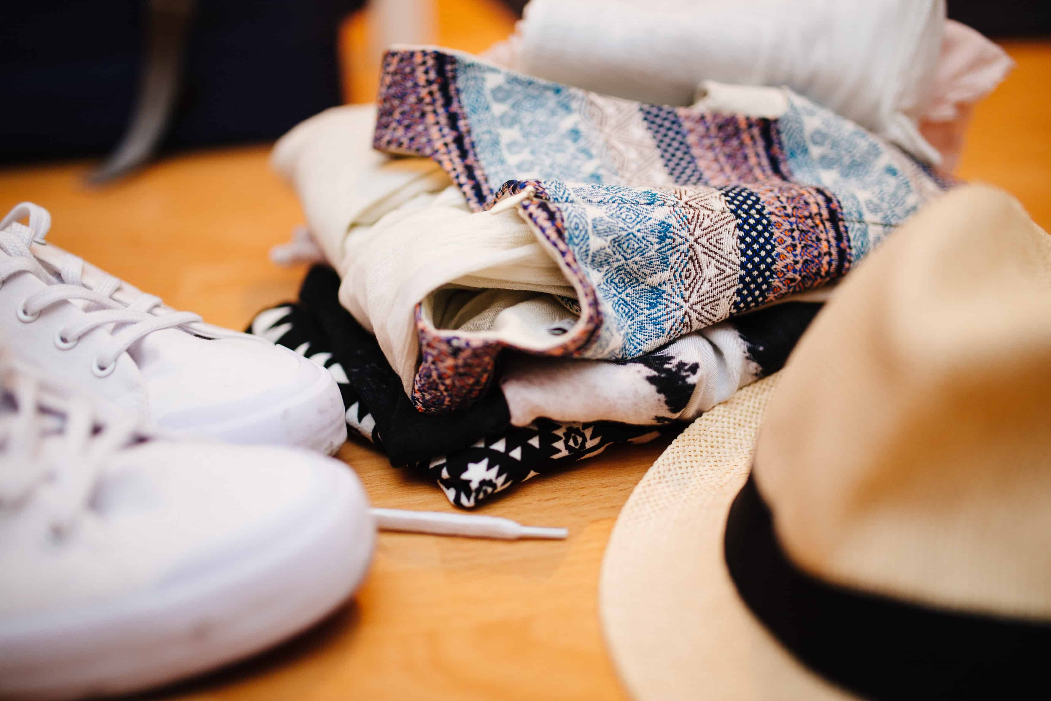 Clothes and accessories on a table