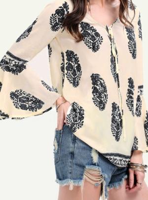 Boho print flare sleeve blouse