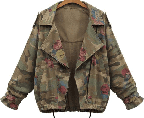 Oversized camouflage zipper coat