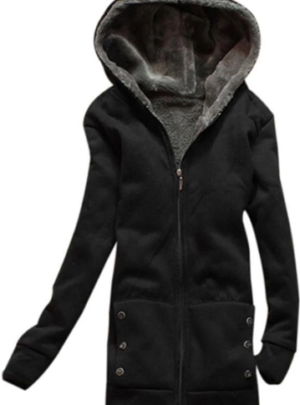 Thick zipper fleece outwear coat
