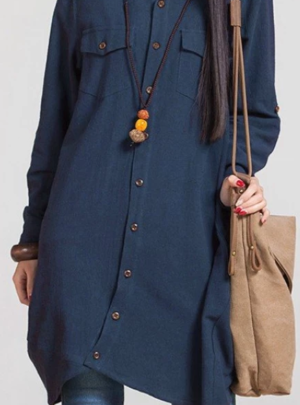Autumn long sleeve shirt dress