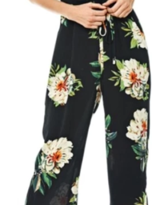 Wide leg floral jumpsuit (with belt)