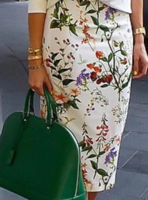 Floral midi pencil skirt