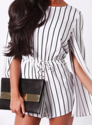 Striped cape sleeve romper