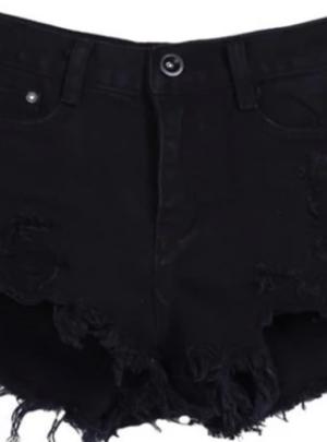Buttoned fringe denim shorts